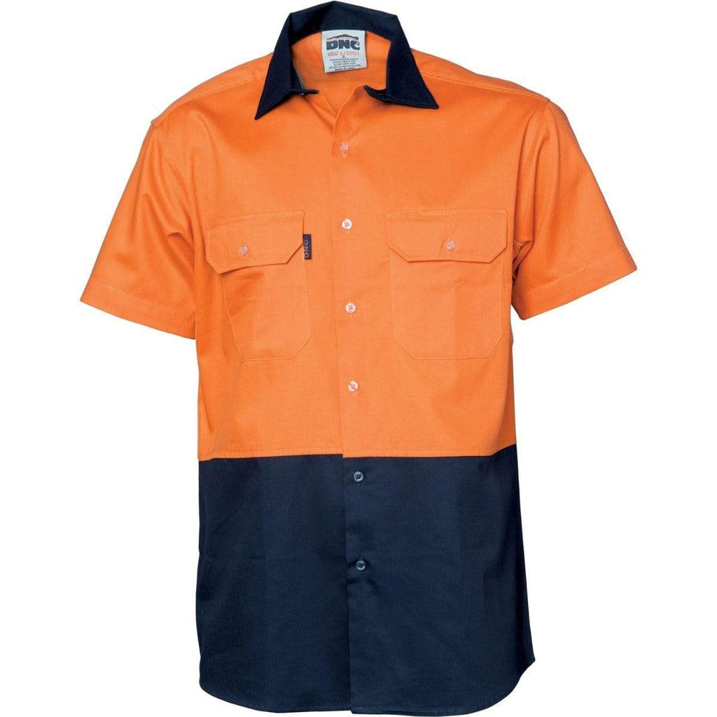 DNC Workwear Work Wear DNC WORKWEAR Hi-Vis Two-Tone Cotton Drill Short Sleeve Shirt 3831