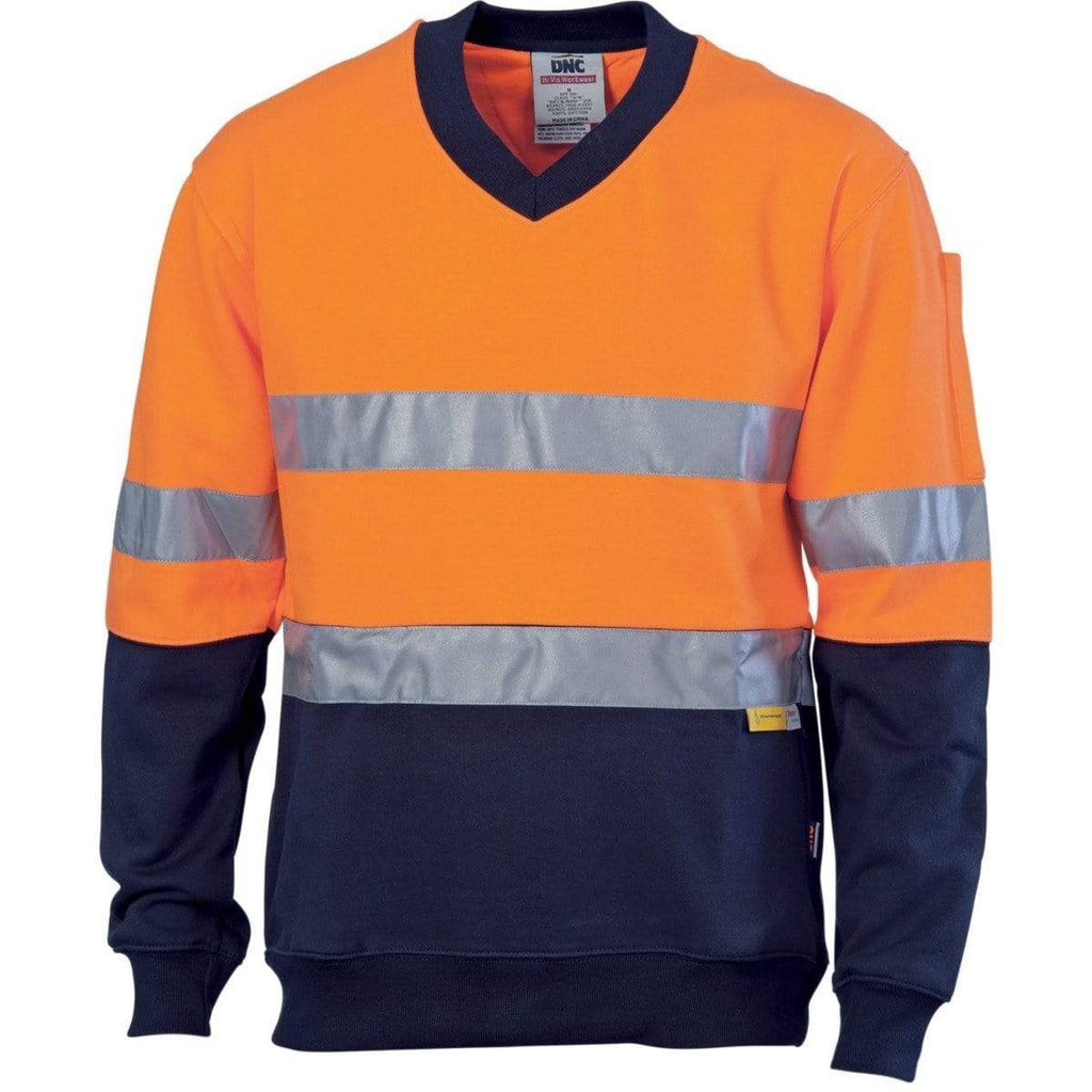 DNC Workwear Work Wear DNC WORKWEAR Hi-Vis Two-Tone Cotton Fleecy V-Neck Sweatshirt with 3M R/Tape 3924