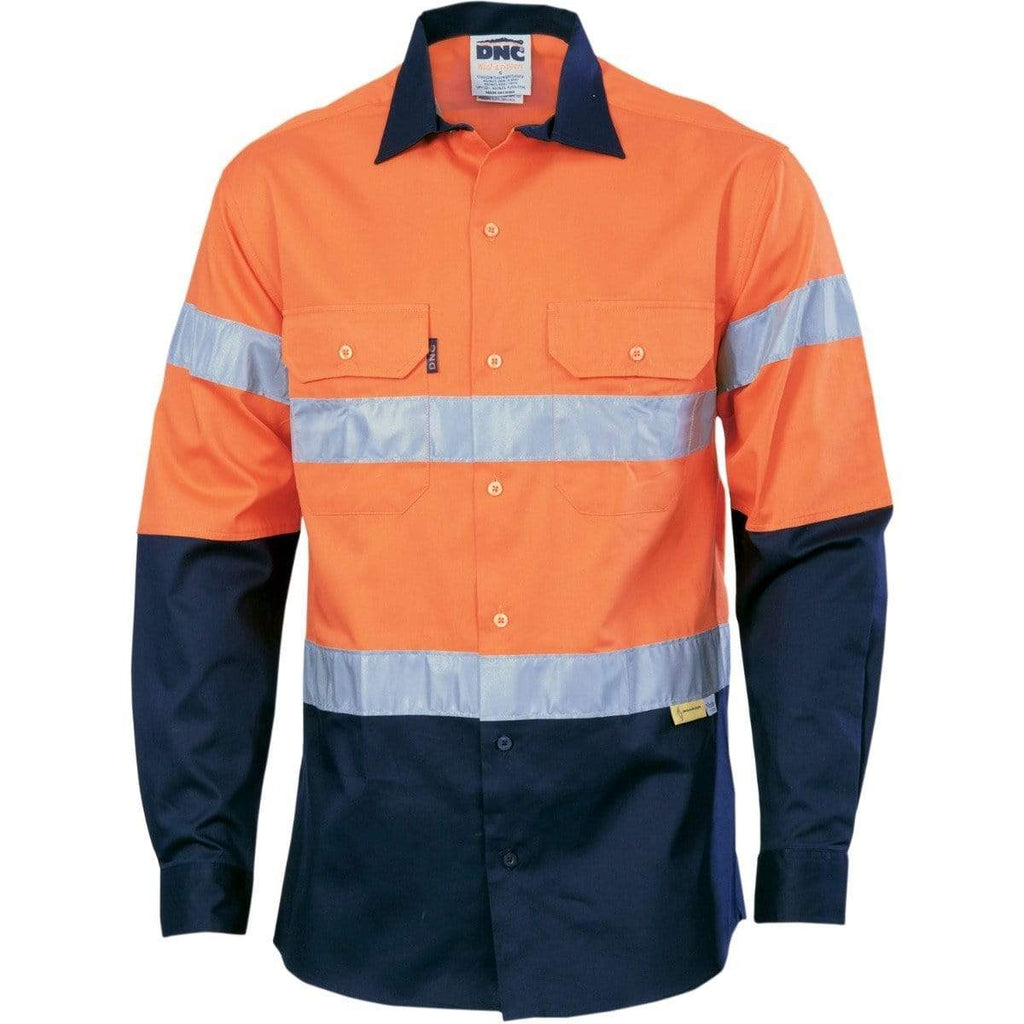 DNC Workwear Work Wear DNC WORKWEAR Hi-Vis Two Tone Drill Long Sleeve Shirt with 3M 8910 Reflective Tape 3836