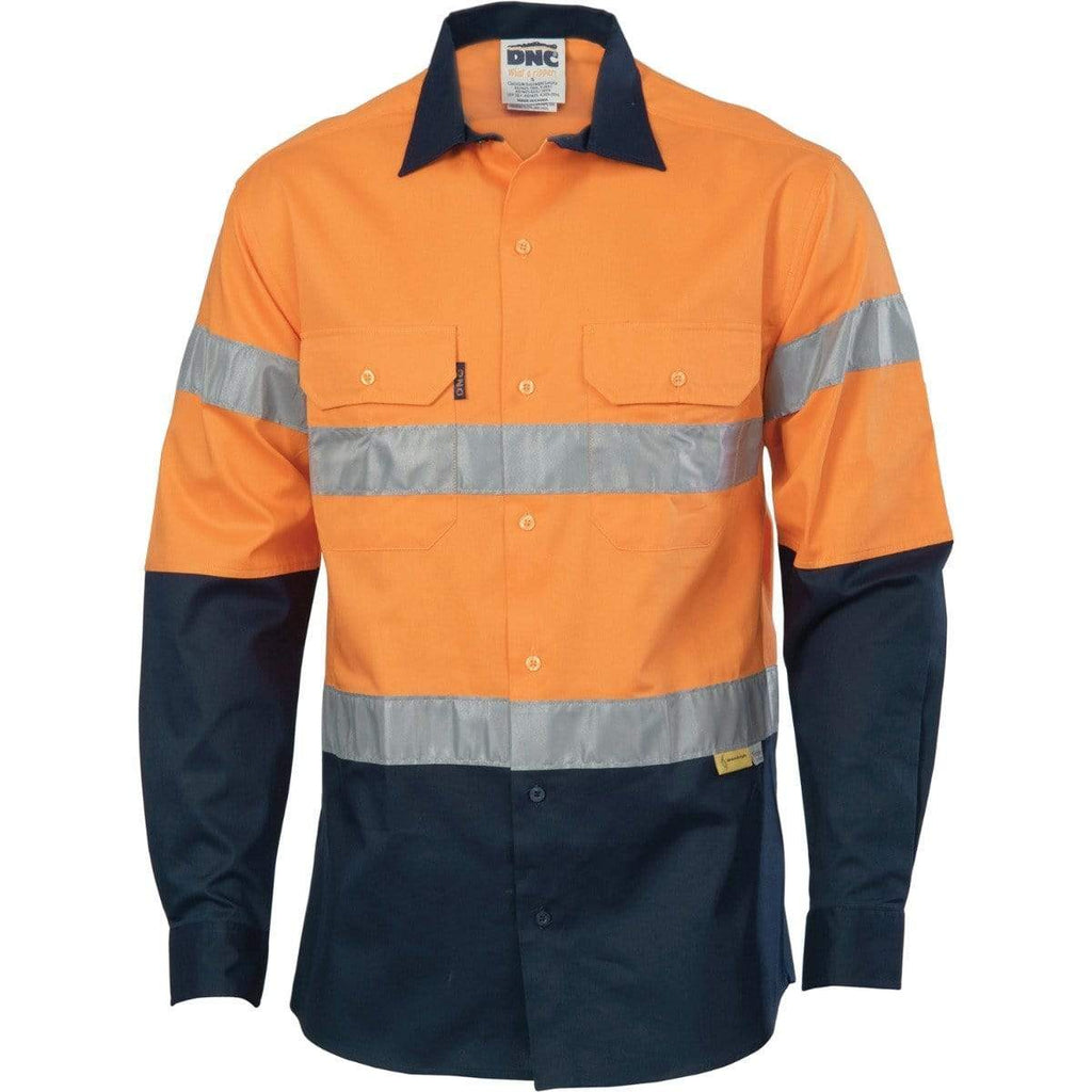 DNC Workwear Work Wear DNC WORKWEAR Hi-Vis Two-Tone Drill Long Sleeve Shirts with 3M 8906 Reflective Tape 3736