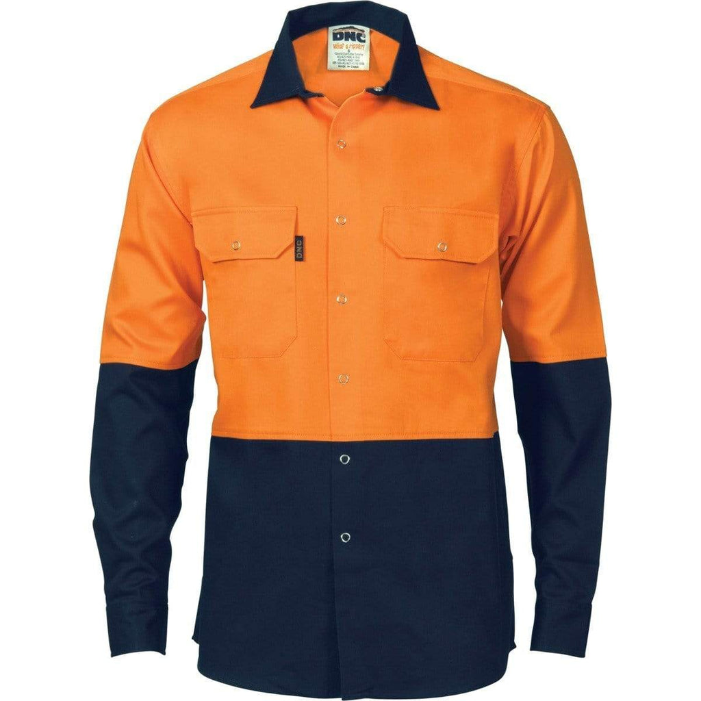 DNC Workwear Work Wear DNC WORKWEAR Hi-Vis Two Tone Drill Shirt with Press Studs 3838