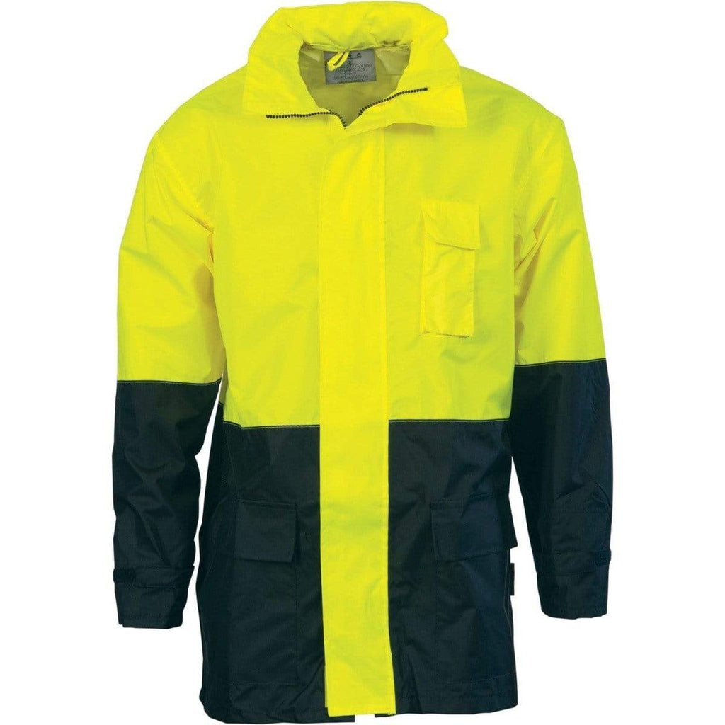 DNC Workwear Work Wear Yellow/Navy / S DNC WORKWEAR Hi-Vis Two-Tone Lightweight Rain Jacket 3877
