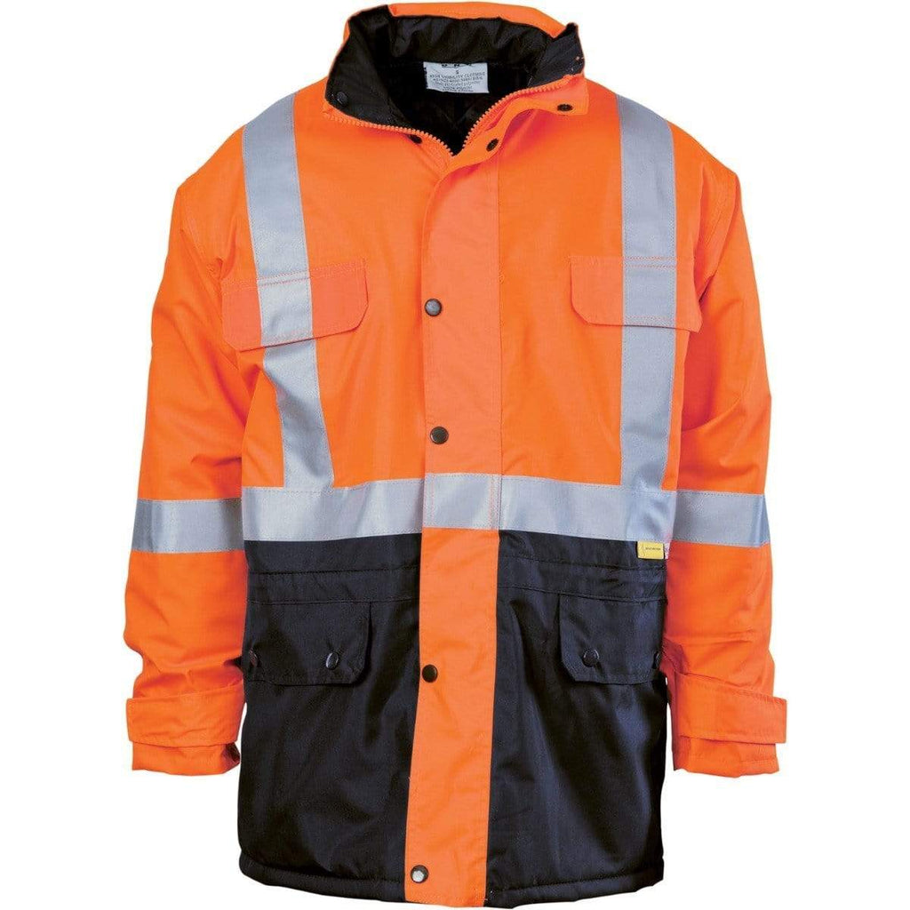 DNC Workwear Work Wear Orange/Navy / S DNC WORKWEAR Hi-Vis Two-Tone Quilted Jacket with 3M Reflective Tape 3863