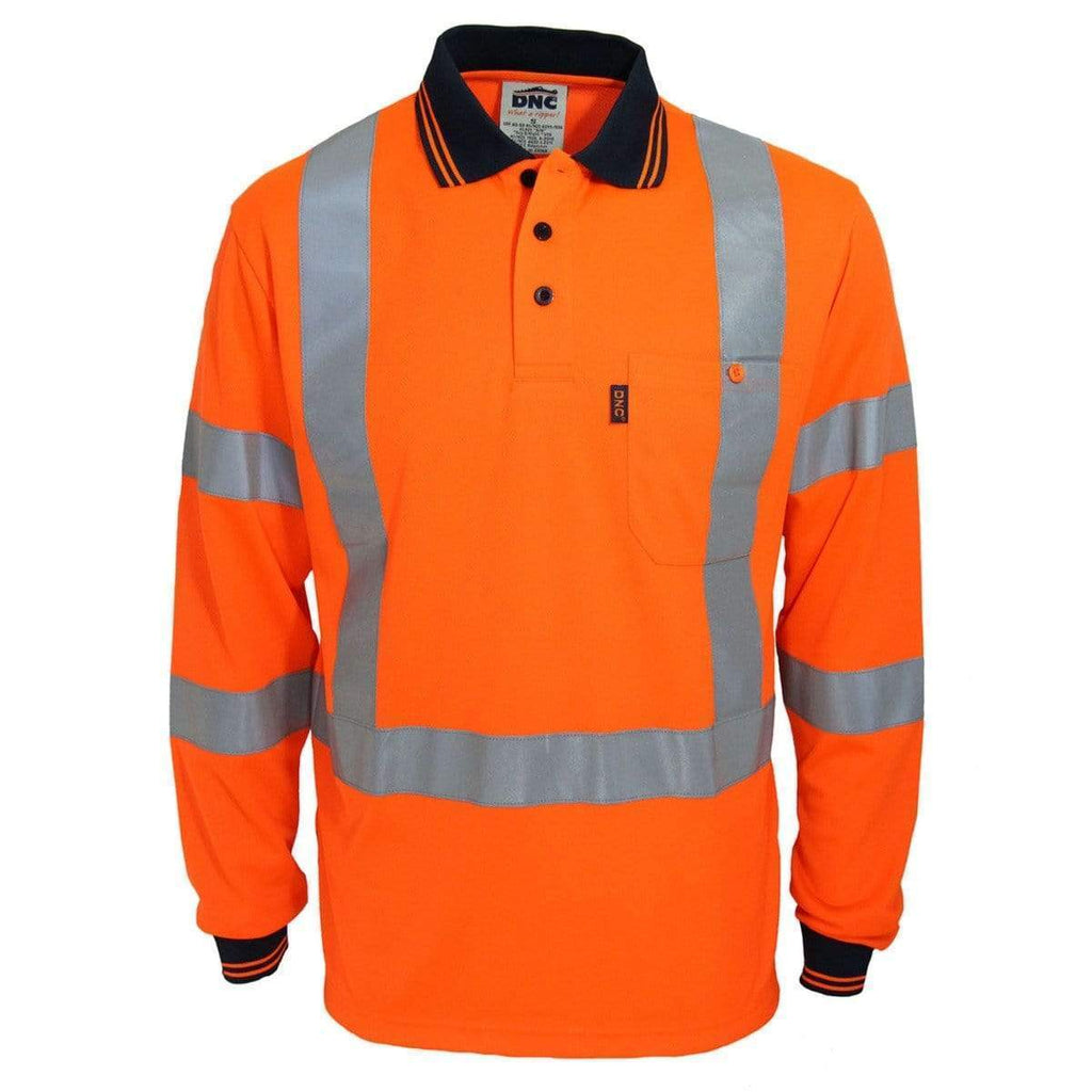 "DNC Workwear Work Wear DNC WORKWEAR Hi-Vis ""X"" Back & Bio-Motion Taped Polo 3710"