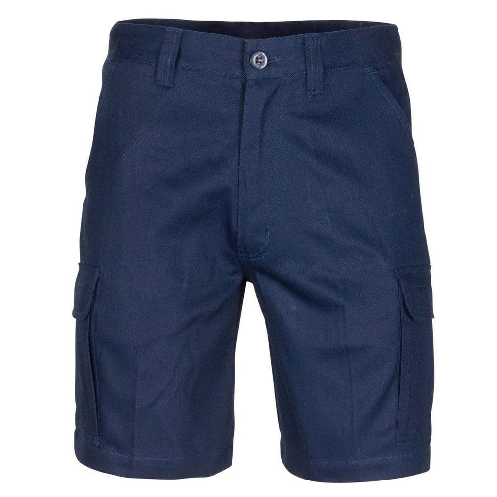 DNC Workwear Work Wear Navy / 72R DNC WORKWEAR Middle Weight Cotton Double Slant Cargo Shorts - With Shorter Leg Length 3358