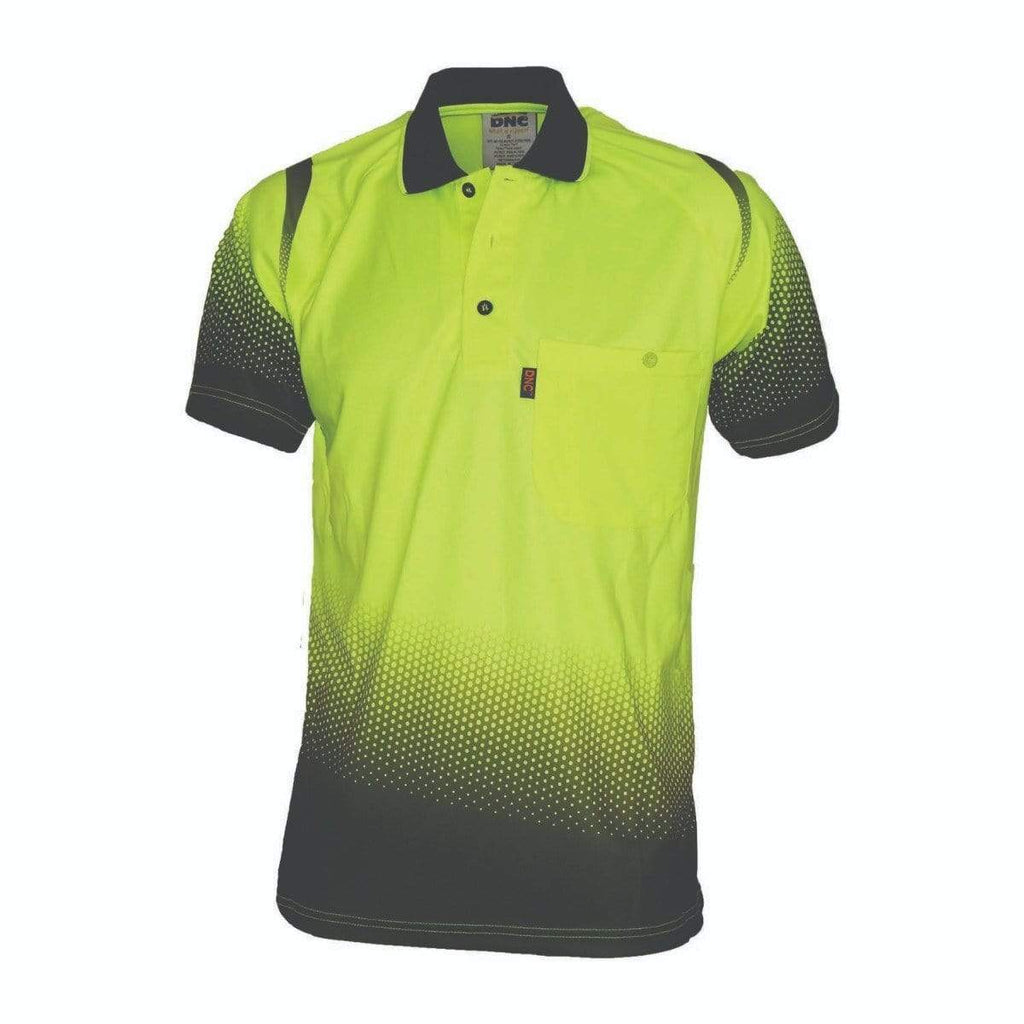 DNC Workwear Work Wear Yellow/Navy / XS DNC WORKWEAR Ocean Hi Vis Sublimated Polo 3568