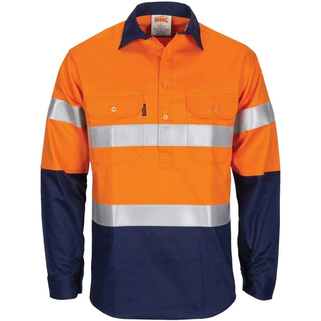 DNC Workwear Work Wear Orange/Navy / XS DNC WORKWEAR Patron Saint Flame Retardant 2 Tone Closed Front Cotton Shirt with 3M FR Tape  3407