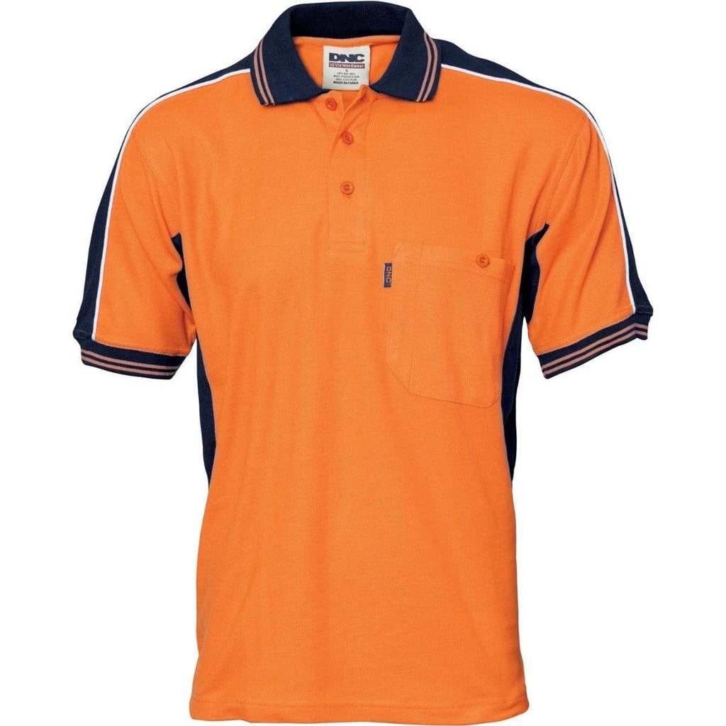 DNC Workwear Work Wear Navy/Orange / XS DNC WORKWEAR Polyester /Cotton Contrast Panel Short Sleeve Polo 3895