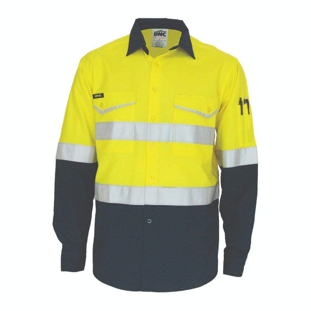 DNC Workwear Work Wear DNC WORKWEAR Two-Tone Ripstop Cotton Long Sleeve Shirt with Reflective CSR Tape 3588