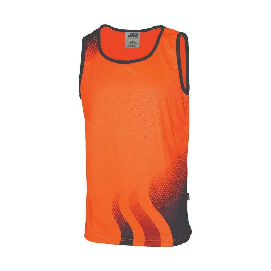 DNC Workwear Work Wear DNC WORKWEAR Wave Hi-Vis Sublimated Singlet 3561