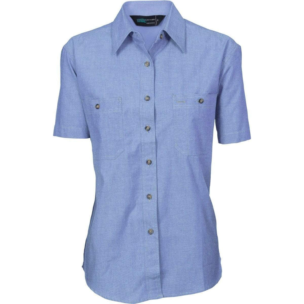 DNC Workwear Work Wear DNC WORKWEAR Women's Cotton Chambray Shirt - Short Sleeve 4105