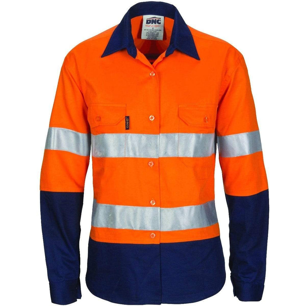 DNC Workwear Work Wear DNC WORKWEAR Women's Hi-Vis Cool-Breeze Long Sleeve Cotton Shirt with CSR Reflective Tape 3786