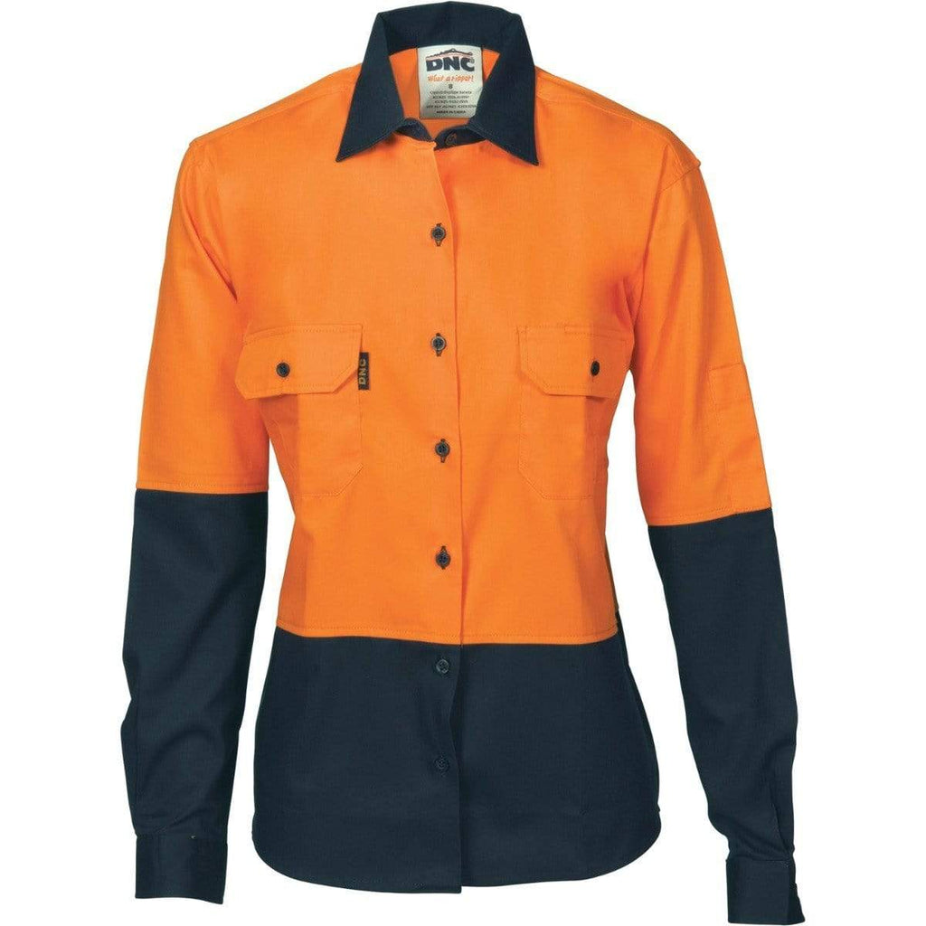DNC Workwear Work Wear DNC WORKWEAR Women's Hi Vis Two-Tone Cotton Drill Long Sleeve Shirt 3932