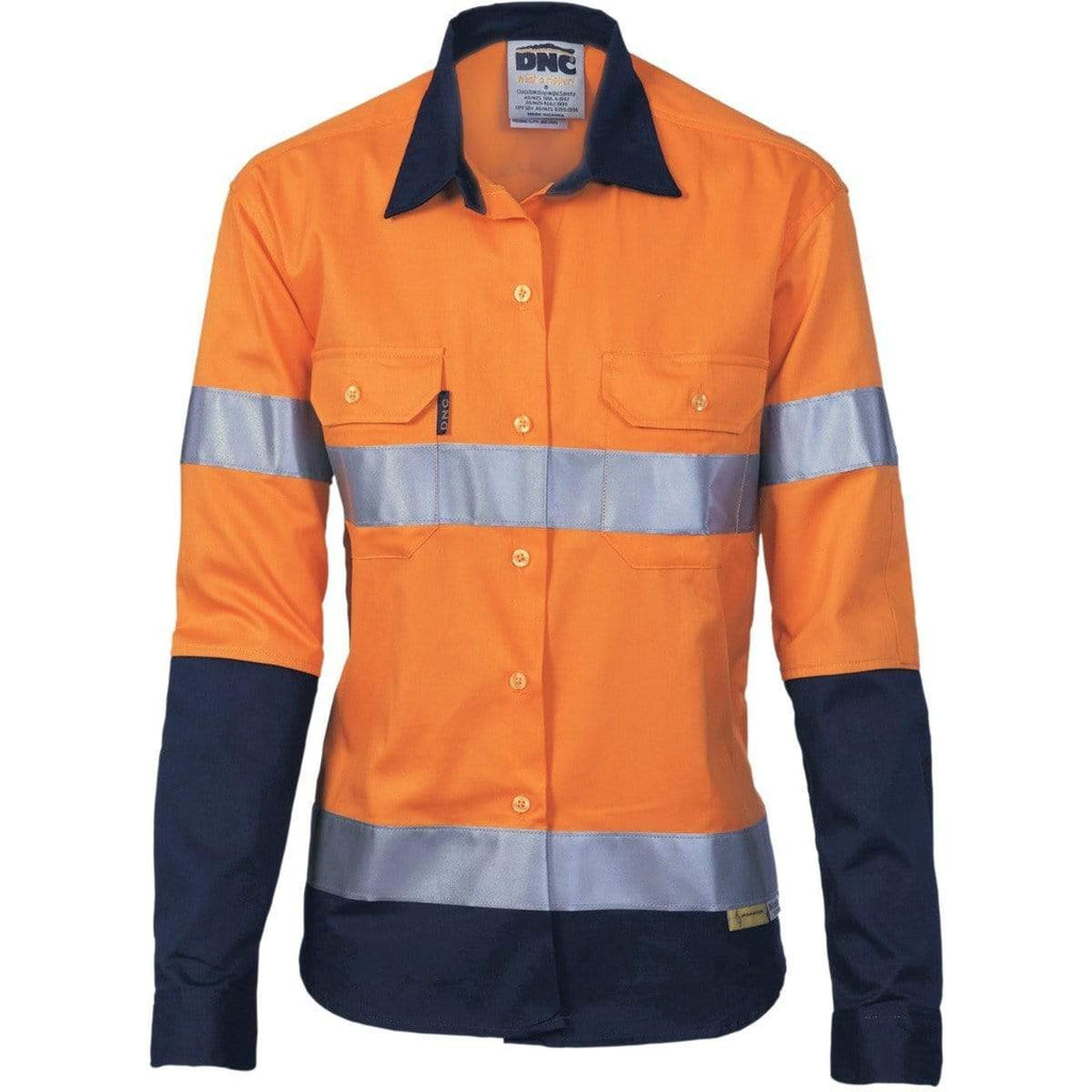 DNC Workwear Work Wear DNC WORKWEAR Women's Hi-Vis Two-Tone Drill Long Sleeve Shirt with 3M Reflective Tape 3936