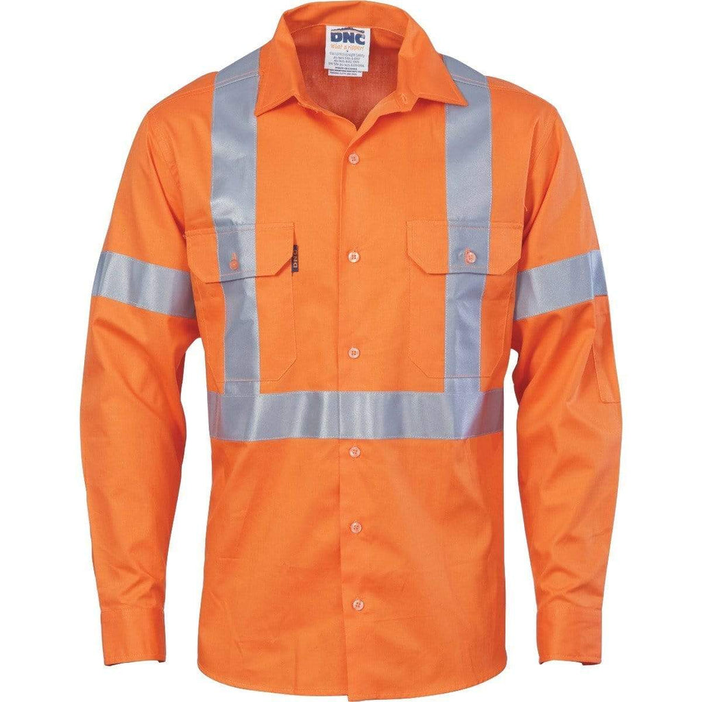 DNC Workwear Work Wear DNC WORKWEAR X Back Long Sleeve Cotton Shirt with CSR Reflective Tape 3546