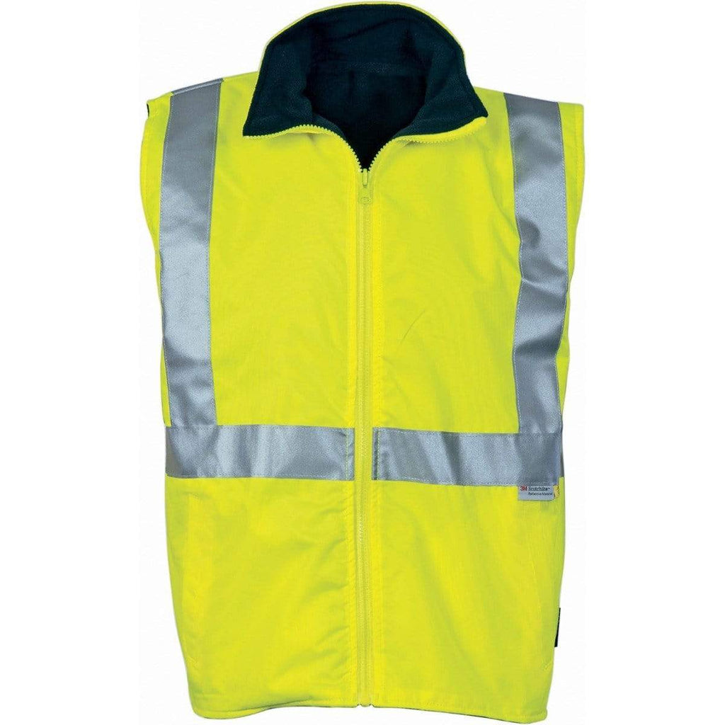 DNC Workwear Work Wear Hi-Vis Reversible Vest with 3M Reflective Tape 3865-Yellow/Navy-S
