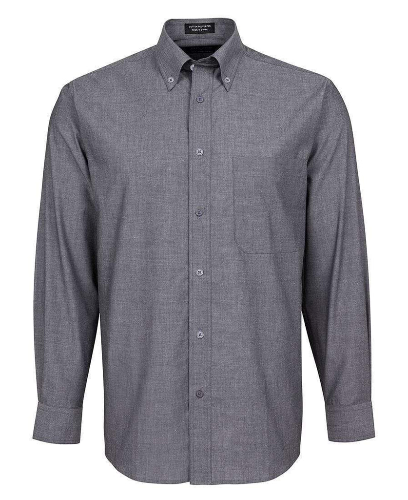 Jb's Wear Corporate Wear Charcoal Chambray / S JB'S Long Sleeve Fine Chambray Shirt 4FC