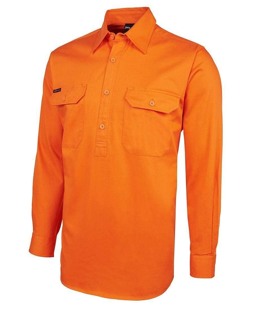 Jb's Wear Work Wear JB'S Hi-Vis Long Sleeve Close Front Shirt 6HVCF