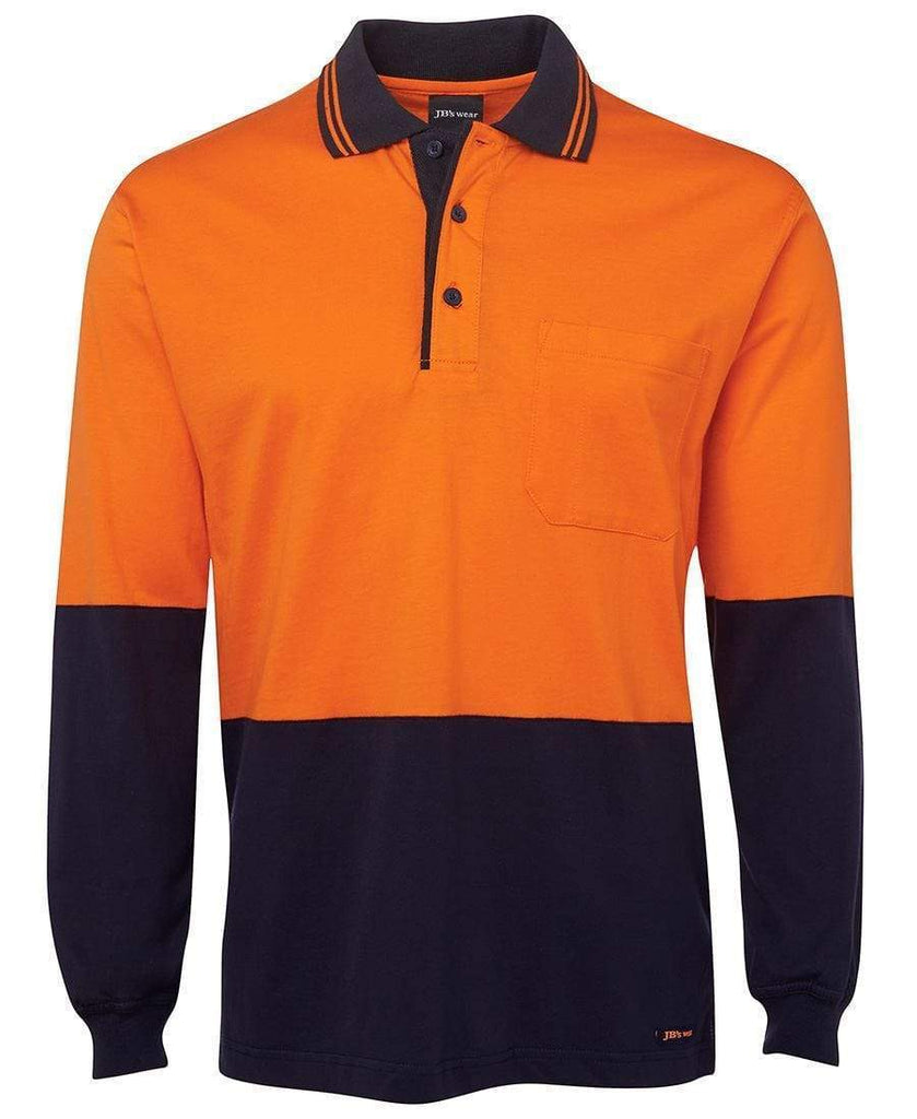 Jb's Wear Work Wear Orange/Navy / XS JB'S Hi-Vis Long Sleeve Cotton Polo 6CPHL