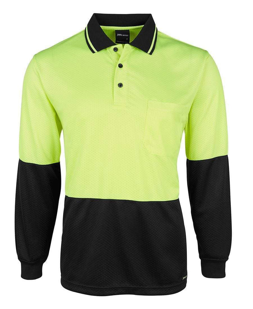 Jb's Wear Work Wear JB'S Hi-Vis Long Sleeve Jacquard Polo 6HJNL