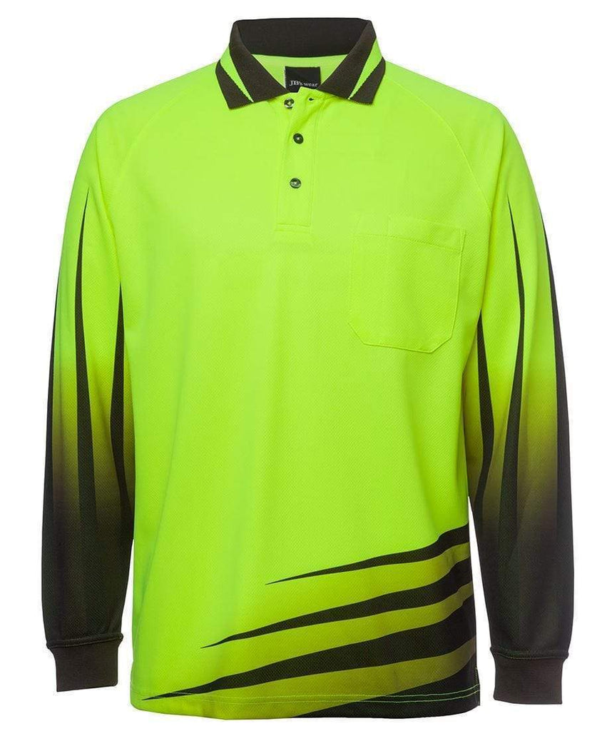 Jb's Wear Work Wear Lime/Black / XS JB'S Hi-Vis Long Sleeve Rippa Sub Polo 6HVRL