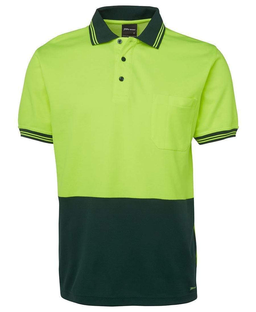 Jb's Wear Work Wear Lime/Bottle / XS JB'S Hi-Vis Short Sleeve Cotton Back Polo 6HPS