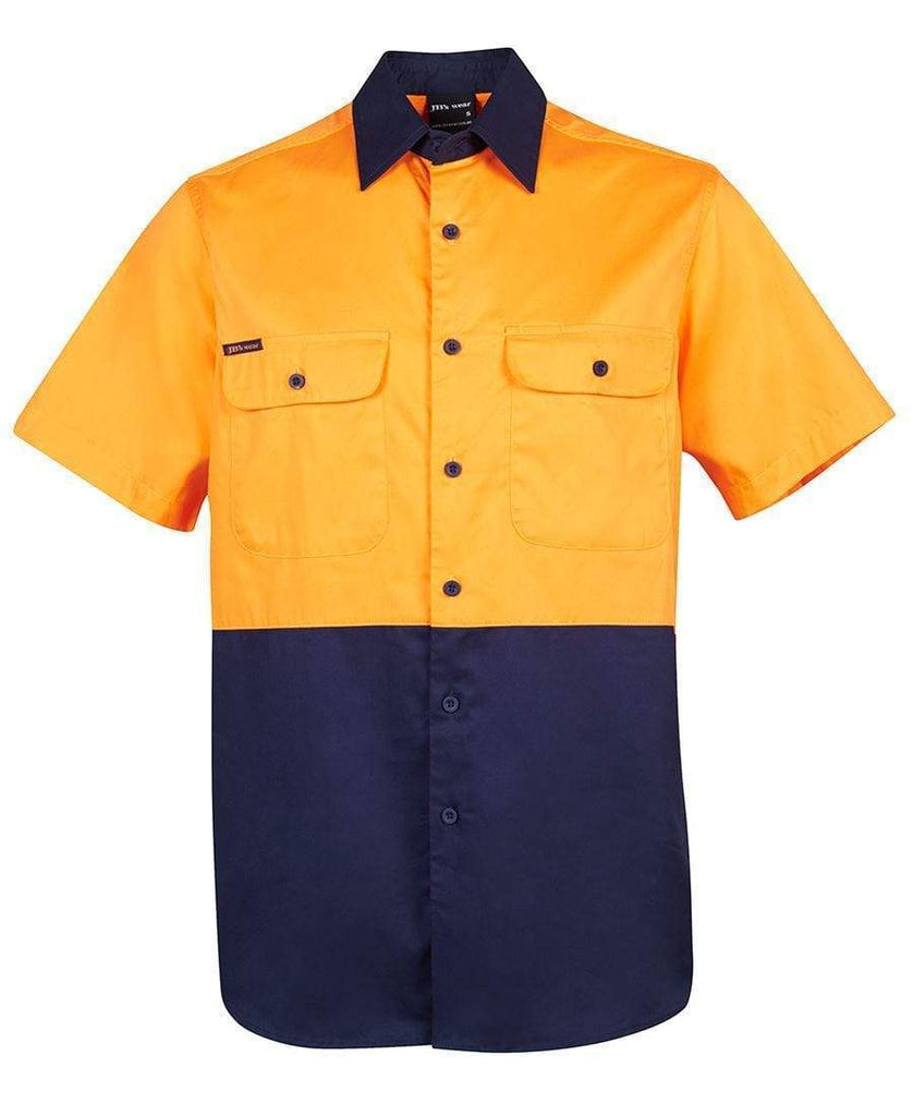 Jb's Wear Work Wear Orange/Navy / S JB'S Hi-Vis Short Sleeve Shirt 6HWSS