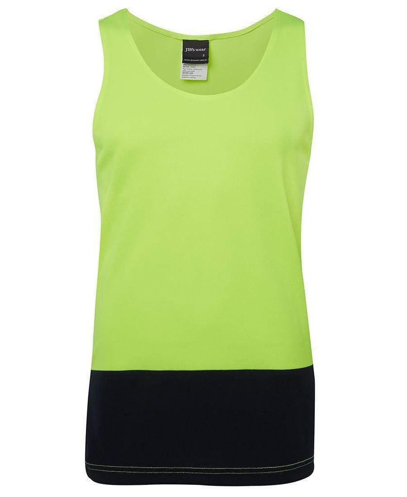 Jb's Wear Work Wear Lime/Navy / XS JB'S Hi-Vis Traditional Singlet 6HTS
