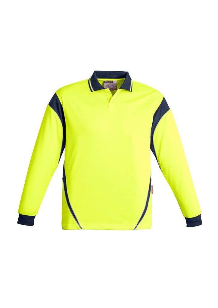Syzmik Work Wear SYZMIK Men's Hi Vis Aztec Polo - Long Sleeve ZH249