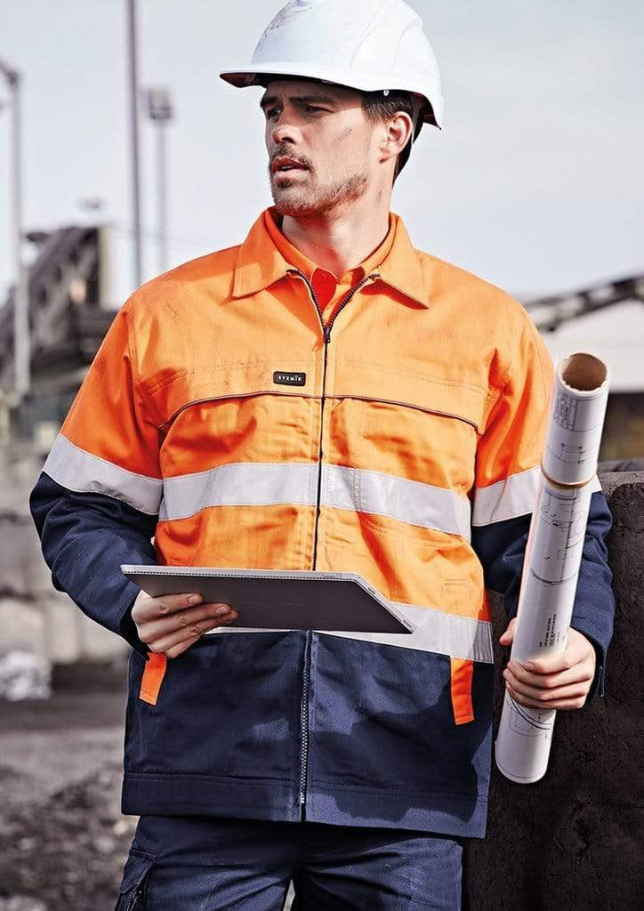Syzmik Work Wear SYZMIK Men's Hi Vis Cotton Drill Jacket ZJ590