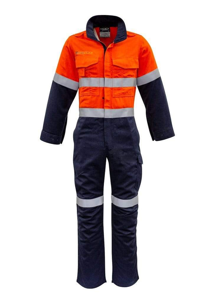 Syzmik Work Wear SYZMIK men's orange flame hrc-2 hoop taped spliced overall ZC525