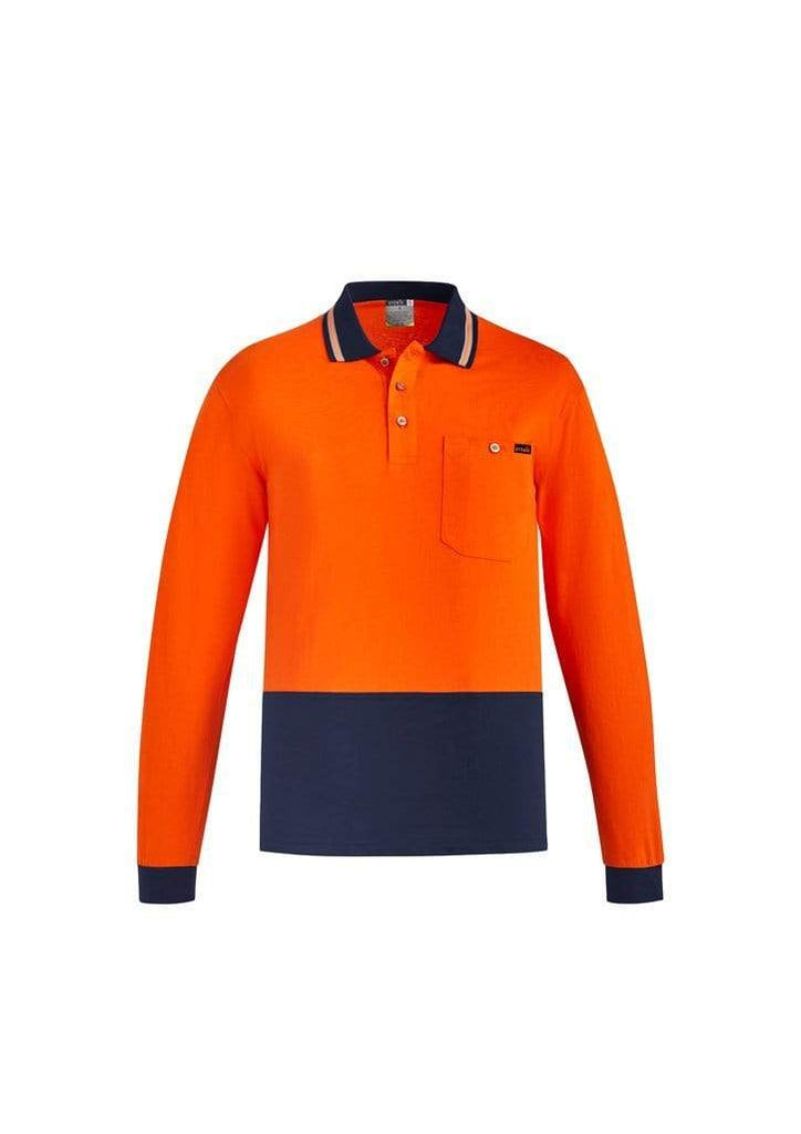Syzmik Work Wear SYZMIK MENS HI VIS COTTON L/S POLO ZH430