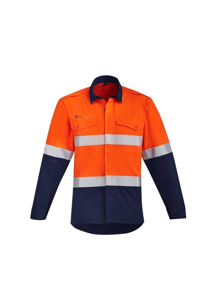 Syzmik Work Wear SYZMIK orange flame hrc-2 hoop taped open front spliced shirt ZW140