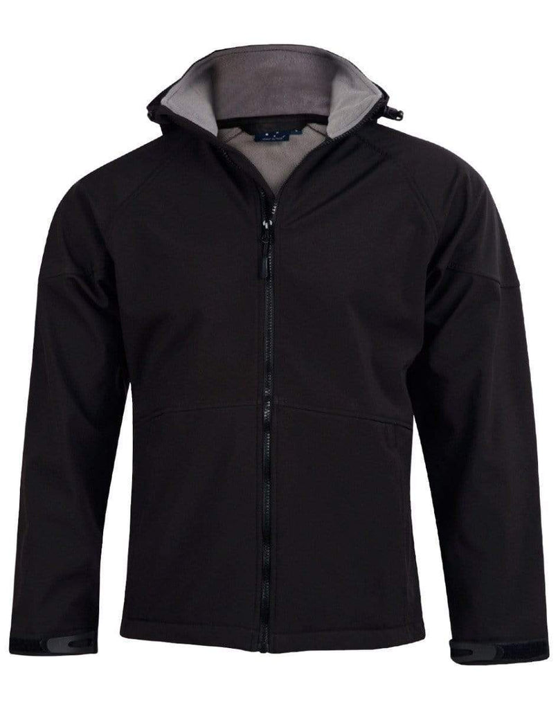 Winning Spirit Casual Wear Black/Charcoal / S Winning Spirit Aspen Softshell Hood Jacket Men's Jk33
