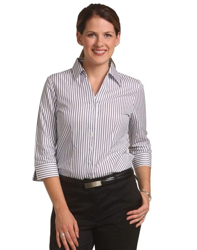 Winning Spirit Corporate Wear Women's Executive Sateen Stripe 3/4 Sleeve Shirt M8310