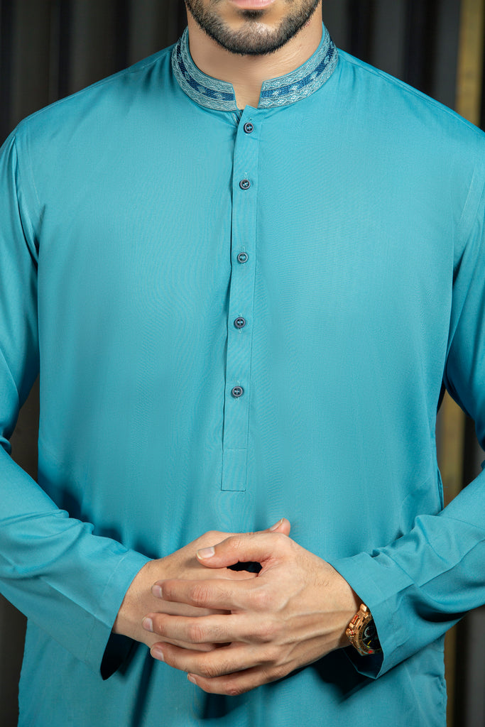 1 Piece Cotton Blue Kurta