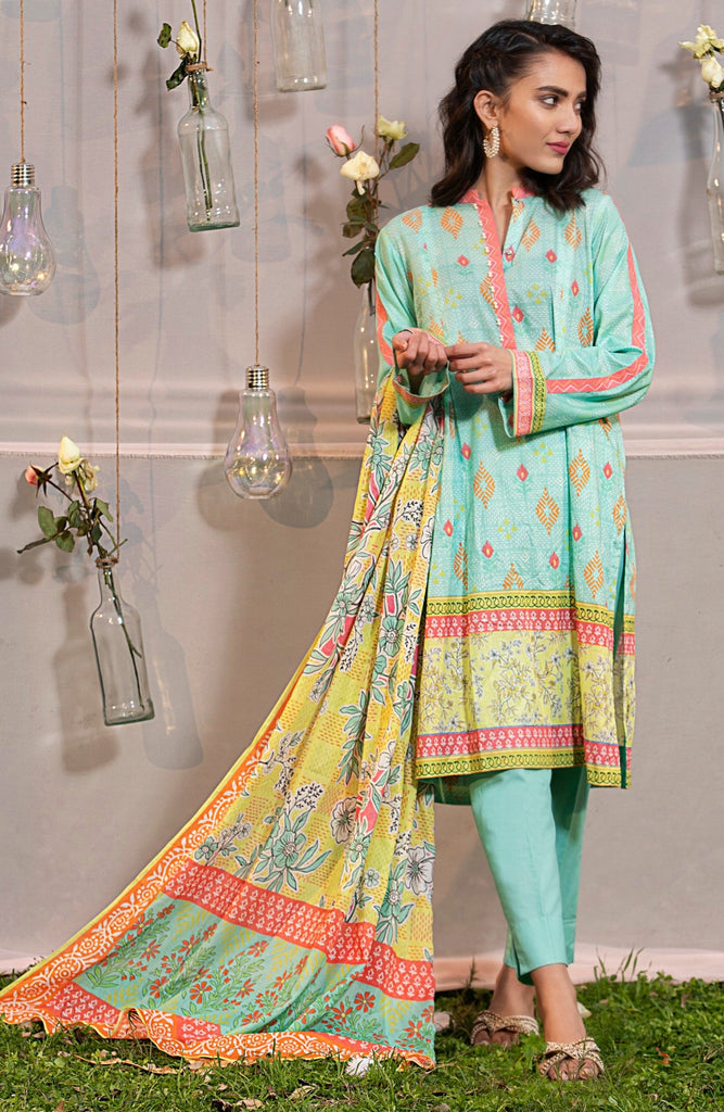 3 Piece Printed Unstitched Lawn
