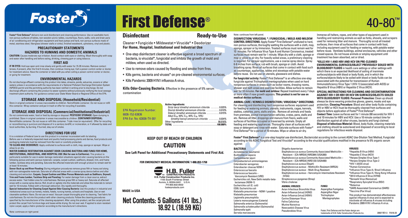 Foster® First Defense™ 40-80 Disinfectant (5GL) - Express Insulation