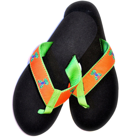 Men's Orange (Green Trim) Beach Sandals