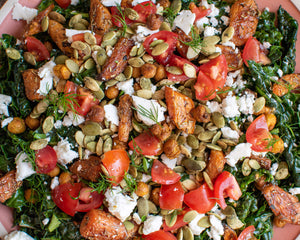 Herby Kale Salad with Crispy Chickpeas and Pumpkin Seeds