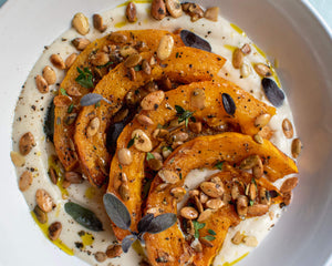 Winter Squash with White Bean Puree and Toasted Pumpkin Seeds