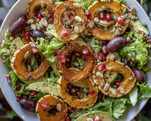 Delicata Squash & Pomegranate Salad with Go Raw Sprouted Pumpkin Seeds