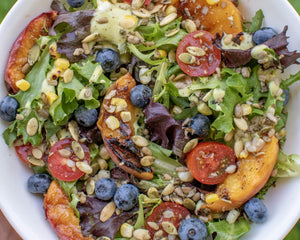 Grilled Peach Salad with Creamy Lime Dressing