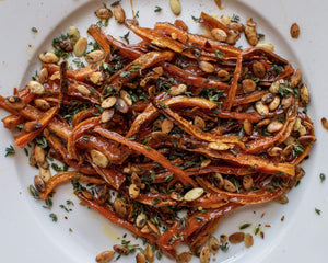 Maple Glazed Carrot Sticks with Go Raw Pumpkin Seeds