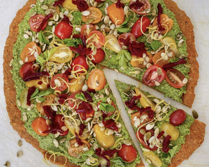 Sweet Potato Crust Pizza with Pea Pesto and Cherry Tomatoes