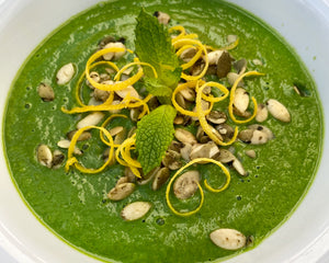 Spring Green Soup with Spinach, Avocado, Asparagus, and Mint