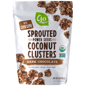 Dark Chocolate Sprouted Seed Coconut Clusters - 12 Bags, 3oz Each