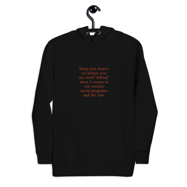Defund Debate Unisexy Hoodie (Persimmon Print) - Benefitting the YWCA of the Greater Capital Region