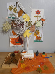Seasonal display autumn leaf crafts