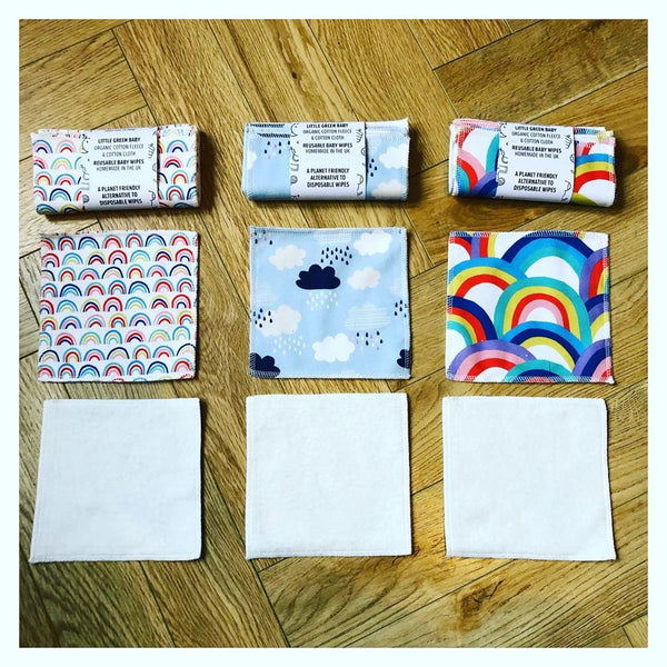 Reusable Baby Wipes - Cotton Flannel & Organic Cotton Fleece - Small Eco Steps